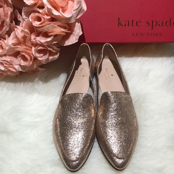 c0ee04ca9e8 Kate Spade ♤ carima rose gold leather loafers nwt